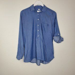 LOFT The Softened Shirt Popover Chambray Blouse